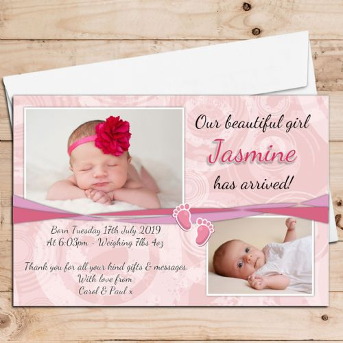 10 Personalised Baby Girl Birth Announcement Thank You PHOTO Cards N37